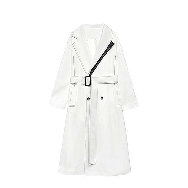 Kadın Palto Turn-down Yaka Kemer Beyaz Siyah Renk Eşleştirme Bayan Trençkotlar Renk Eşleştirme Artı Boyutu Uzun E191