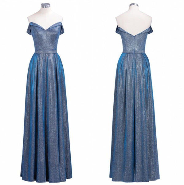 Real Image 2019 New Reflective Sequins Evening Prom Dress A Line Off Shoulder Pleats Long Bridesmaids Gowns Robes Longue CPS1247