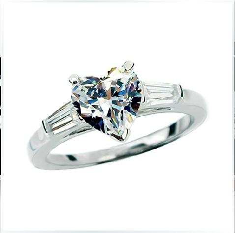 2Ct Heart Shape & Baguette Synthetic Diamond Wedding Female Ring Solid 925 Sterling Silver Ring White Gold Plated Jewelry