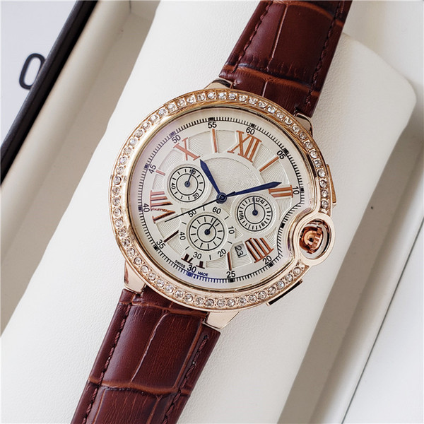 2019 New TOP Brand Blue balloon Six stitches series Little needle run seconds high quality Luxury fashion mens watches Set auger watch6