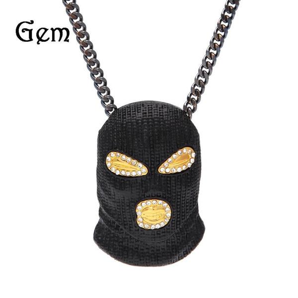 2017 New Gold Mask Hip hop Bling Necklace Mens Gold Jewelry Iced Out Women Men Gift Hip Hop CSGO Pendant Necklace Jewelry