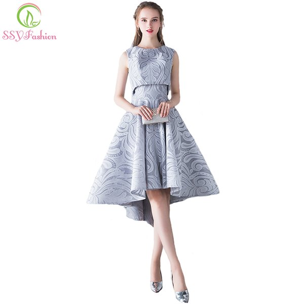 Ssyfashion New Simple Elegant Evening Dress Bride Grey Lace Two Pieces High/low Sleeveless Formal Party Gown Robe De Soiree Y190525