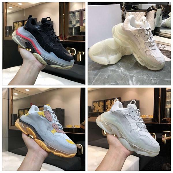 2019 Новый Low-Cut Ретро Дизайнер Triple-S Классические Мужские Открытый Плоские Туфли Женская Повседневная Обувь на Высоких Каблуках Низ С Вакуумным Дизайном