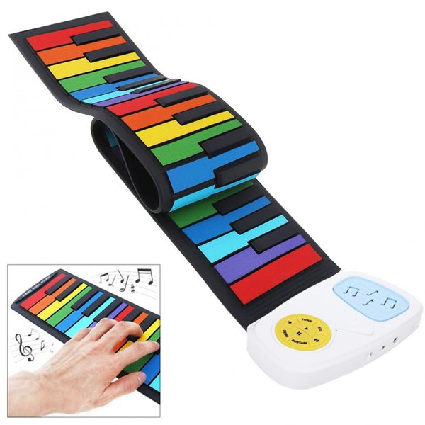 49 Keys Silicon Colorful Flexible Hand Roll Up Piano Electronic Keyboard Organ Built-in Speaker Enlightenment Music Gift