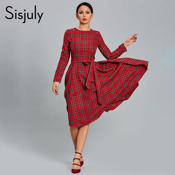 b31469a638 Sisjuly Vestido de Mujer A Cuadros Vestidos de Fiesta Rojos Casual O Cuello  de Manga Larga