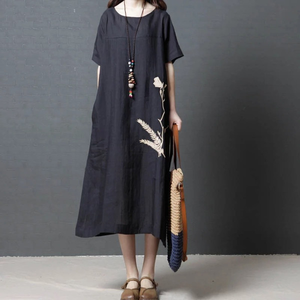 Plus Size Women Casual Dress Loose Summer Vintage Solid Clothes Cotton And Linen Vestidos With Pockets Maxi Dress