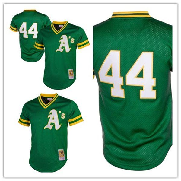 ba28366c custom 2019 Men's Athletics 44 Reggie Jackson Mitchell Oakland & Ness Green  Cooperstown Mesh Batting Practice