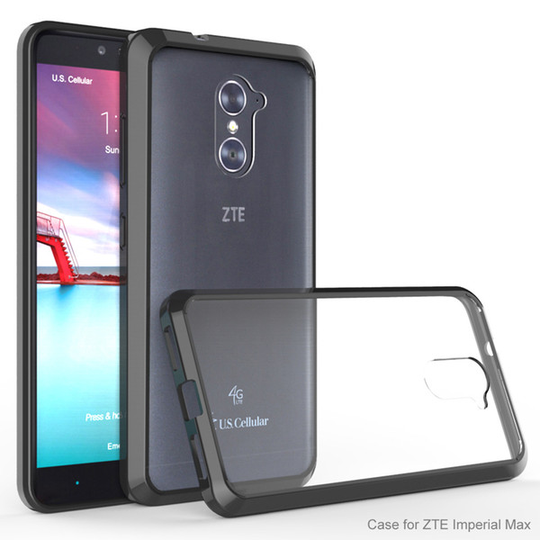 Acrylic+TPU Hard Transparent Cover Case for ZTE Imperial Max Z963U/Grand X Max 2/KIRK Z988/Max Duo Anti-scratch Clear Hybrid Shell