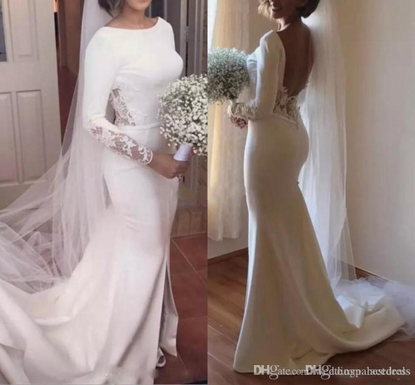 Neue elegante weiße Nixe Brautkleider Bateau Backless langen Ärmeln Spitze Kirche Garten Brautkleider Vestido De Novia Robe de mariée
