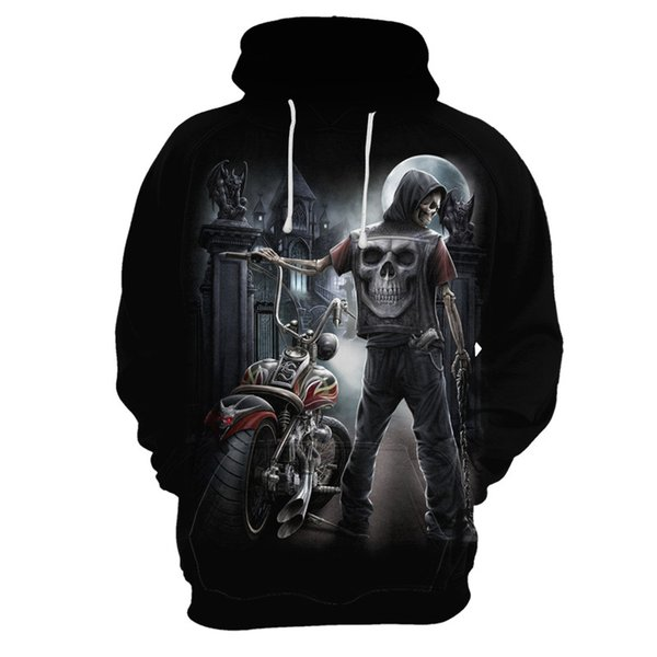 Hot 3D Skull Hoodies Men/Women Hoody Sweatshirts 3D Print Blue Fire Design Skull Hooded Boys/Girls Polluvers Autumn Tops