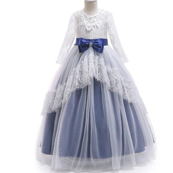 Girls Princess Lace Dress Kids Floral Elegant Birthday Dress Flower Girls Wedding Party clothing For Girls Children Costume