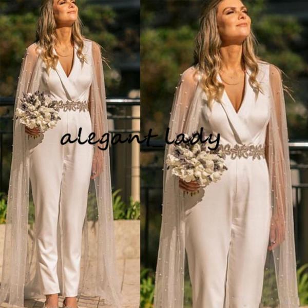 Luxus Kristall Gürtel Hochzeit Overall Kleid mit langen Wickel Cape 2020 V-Ausschnitt knöchellangen Outfit Landgarten Braut Hose Anzug Kleid