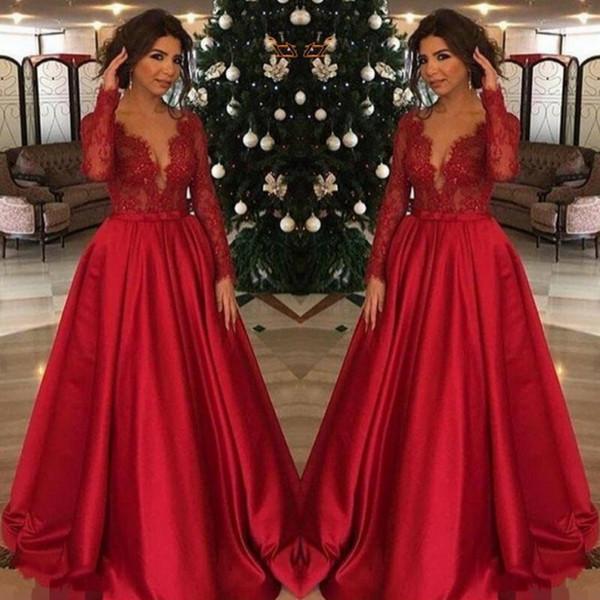Rojo Talla grande Madre de la novia Vestidos Encaje Top Mangas largas para bodas Fiesta de mujeres Vestidos de noche formales