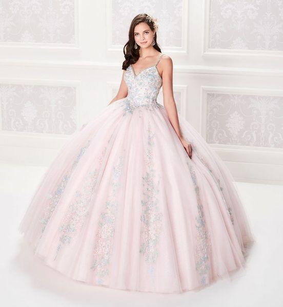 Compre Vestido De Fiesta 2019 Vestidos De Quinceañera De Color Rosa Claro Corsé Con Blusa Con Cuentas Vestido De Fiesta Con Apliques De Plata Con