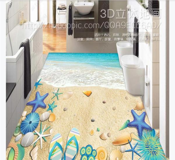 Maßgeschneiderte 3D selbstklebende Boden Fototapete Blue Seaside Beach Shell wasserdichte Bodenaufkleber Innendekoration Malerei