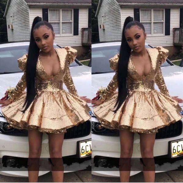 Ragazza nera africana sexy scollo a V Full Gold paillettes abiti da cocktail gonfio spalla breve vestito da promenade Pad 2020 a maniche lunghe abito Homecoming