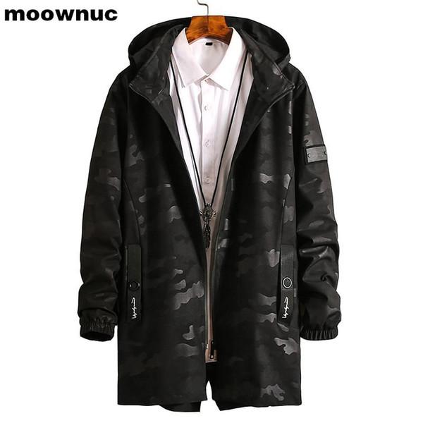 Yeni Erkek Coats 2019 bahar kamuflaj Hendek Coats Erkekler Uzun WINDBREAKER Erkekler XL-8XL Ekstra Işık Su geçirmez Outwear Ceketler Adam
