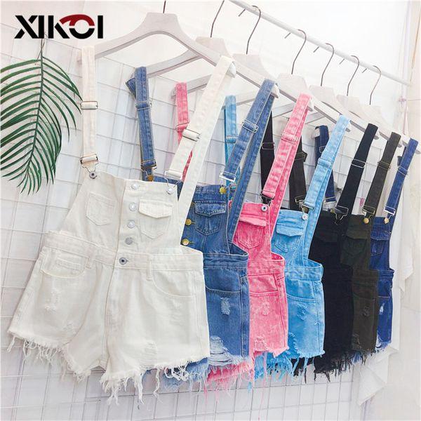 Xikoi Denim Overalls Women Korean Fashion Jumpsuits Female Denim Playsuit Cotton Straps Tracksuits Womens High Waist Rompers Y19060501