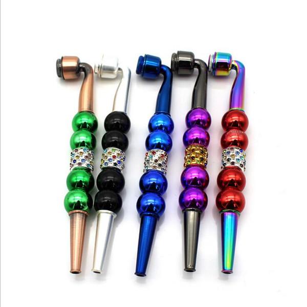 Colorido do metal Tubulação de fumo com tampa diamante pérola Tabaco cigarro Mão de filtro Pipes diamante várias cores 3 estilos