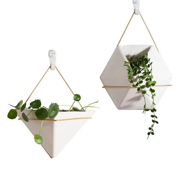 Keramik Kunst Wandvase Eisen Sechseck Blumentopf Ohne Pflanzen Dekoration Zubehör