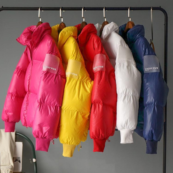 2018 Winter Warm Parka Jacket Women Candy Color Down Jackets Cotton-padded Clothes Female Yellow White Red Parkas Korean Coat