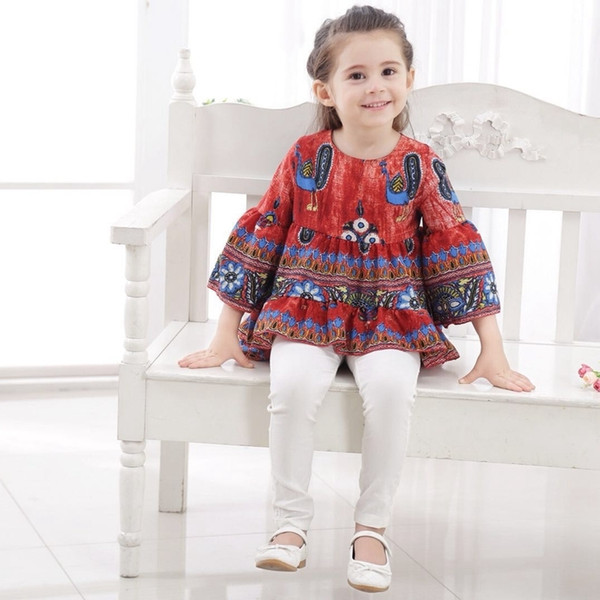 Kids T Shirts Dresses Toddler Girls National Style Long Sleeve Peacock Print Princess Ruffle Tops Irregular Girls Clothes