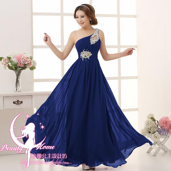 Vestido madrinha2019 nuovo chiffon di cristallo monospalla A Line blu royal verde champagne arancione abiti da damigella lunghi