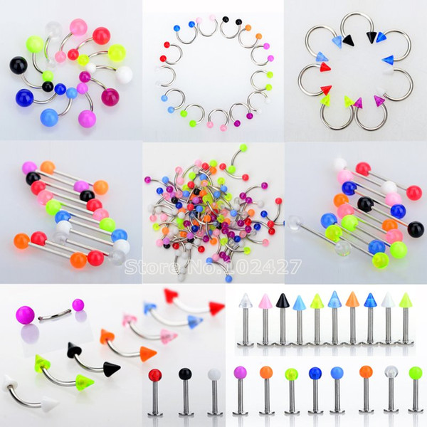 45Pcs/Set Mix Acrylic Stainless Steel Eyebrow Navel Belly Lip Tongue Ring Nose Bar Rings Body Piercing Jewelry Wholesale