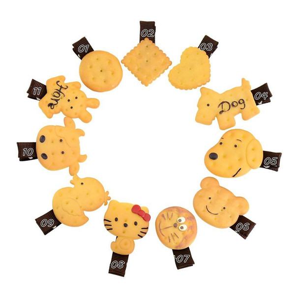 Kids Lovely Hairpin Soft Sister Cookie Bear Hairpin Edge Clamp Simulation Cookies Duckbill Clip Children's Hairping Cute Hair Accessories 10