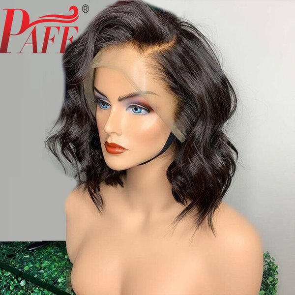 PAFF Short Bob Human Hair Wigs Natural Wave Cut Bob Lace Front Wigs For Women Pre plucked Lace Wigs Side Part