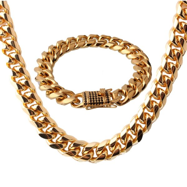 """Trendy Black Stone 316L Stainless Steel Gold Maimi Cuban Curb Link Chain Men Women Necklace 24"""" And Bracelet 8.66"""" Jewelry Sets"""