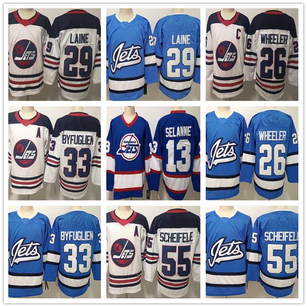 Winnipeg Jets für Herren 29 Patrik Laine 26 Blake Wheeler 33 Dustin 13 Selanne 55 Mark Scheifele Weiße, blaue Eishockeytrikots