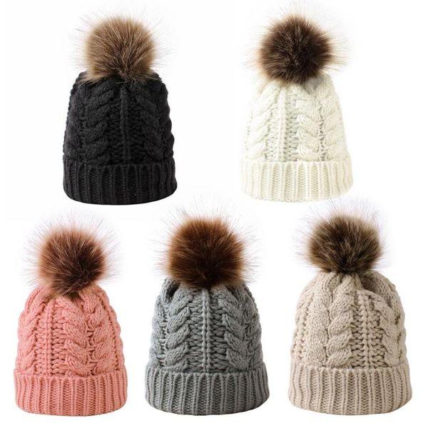 cute infant baby bobble winter acrylic fiber knitted hat newborn beanie cap