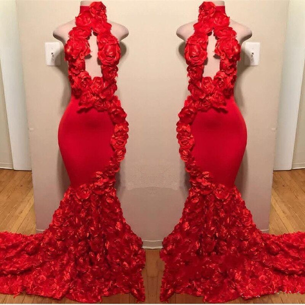 best selling New Design Red Mermaid Prom Dresses 2019 Appliques High Neck Sexy Formal Evening Dress Sweep Train Satin Fashion Cocktail Party Gowns