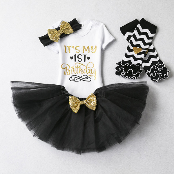 f70020151c955 Ins Baby girl It's my 1st Birthday Outfits set 4 Colors Party clothes  Letters Romper+tutu skirt+Sequins headband+leg warmer 4pcs set