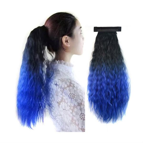 Moda 24 inç uzun renkli wrap kız kız için Afro kinky kıvırcık at kuyruğu düz saç uzatma Sentetik Ponytails parti Noel hediyesi