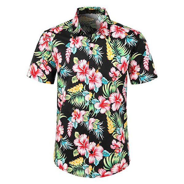 Mens Summer Short Sleeve Beach Hawaiian Shirts Cotton Casual Floral Shirts