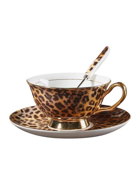 Piattino tazza ceramica classico stile leopardo Piatto piatto tazza caffè porcellana bone china Set tazza da tè in porcellana placcata oro