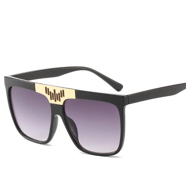 Fashion Vintage Oversized Square Sunglasses Women Designer Double Color Frame Gradient Sun Glasses Men Female sunglassees FML