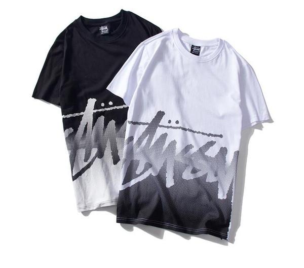 2019 trend men's short-sleeved T-shirt fashion sports stitching design bottoming shirt simple wild men and women short-sleeved T-shirt