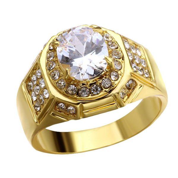 Hiphip completa anillos de diamantes para hombre de calidad superior Fashaion Hip Hop accesorios Crytal gemas 925 anillo de oro de plata al por mayor