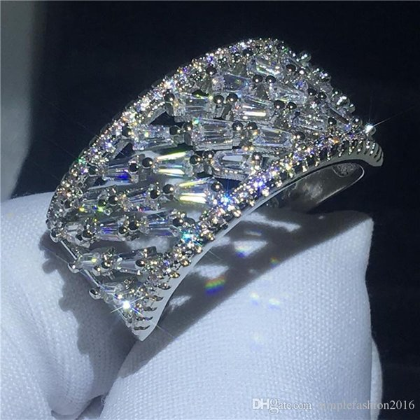 2019 Bague creuse de mode couleur argent T forme diamant Cz pierre grande bague de fiançailles bague pour les femmes bijoux de mariée