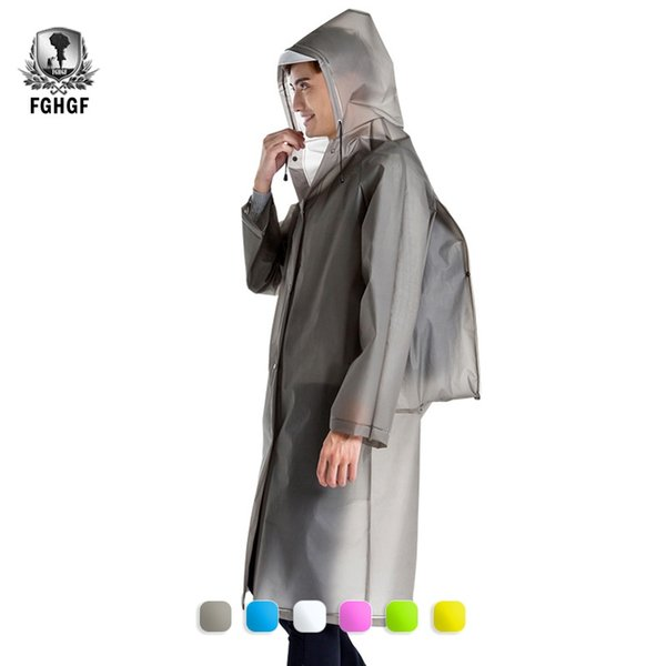 FGHGF Fashion Transparent EVA Adult Men Women Raincoat Thickened Waterproof Rain Coat Clear Travel Hiking Poncho FIt Backpack #319377