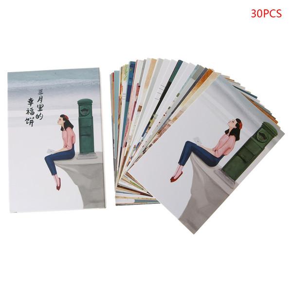 30 fogli Happyness Paintings Retro Cartolina d'epoca Carta regalo di Natale Wish Poster Cards
