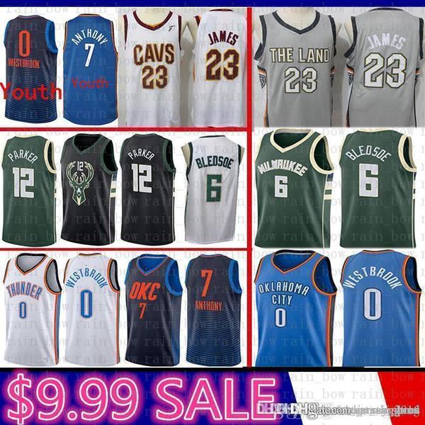 new Milwaukee Eric 6 Bledsoe Bucks Jabari 12 Parker Jersey Cleveland LeBron  23 James Cavaliers Oklahoma City Carmelo 7 Anthony Thunder 6aac6cf87