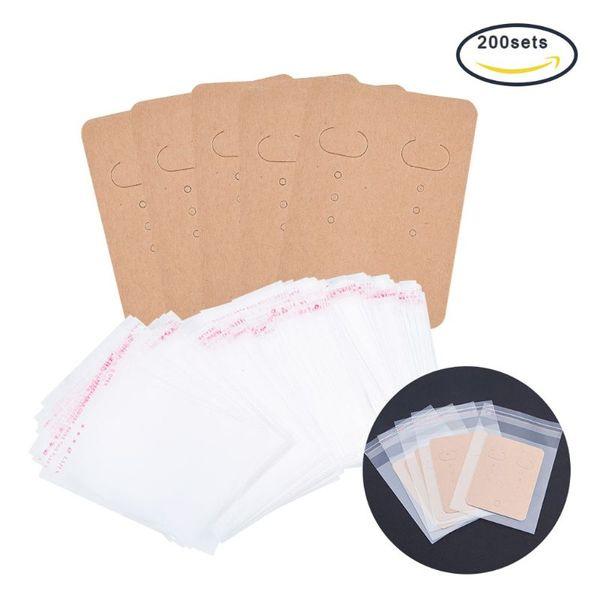 200pcs carte d'affichage de boucle d'oreille vierge étiquette de papier kraft sacs auto-scellés paquet de boucle d'oreille