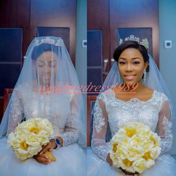 Elegant Country African Sheer Wedding Dresses 2k19 Long Sleeve Lace Nigerian Tulle Bride Ball Vestido de novia Formal Plus Size Bridal Gown