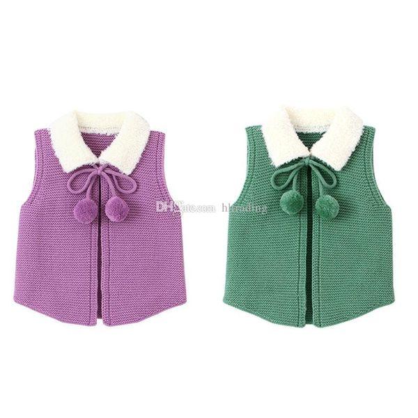 Kids designer clothes girls Waistcoat children Fur collar Knit Cardigan Spring Autumn winter Vest sweater fashion baby Clothing C6851