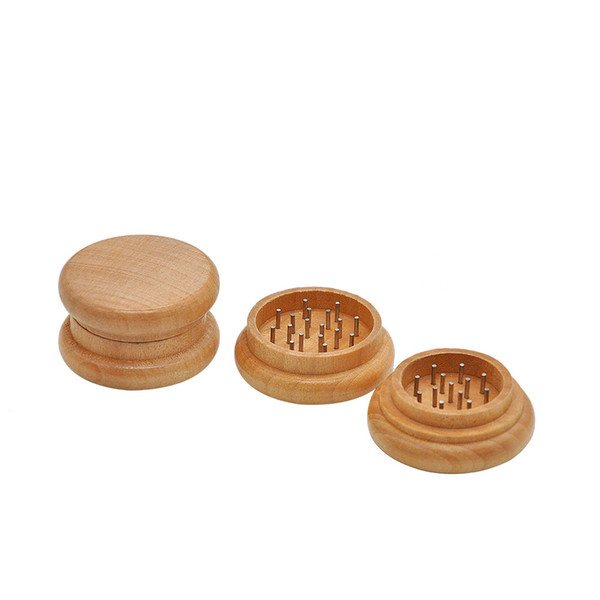 wholesale cheap 55mm 2layer wood herb grinder with metal tooth cheap tobacco smoking grinder free shipping