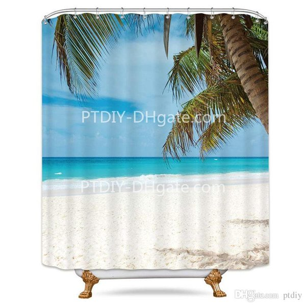 Polyester Waterproof Fabric Shower Curtain Hooks Tropical Blue Sea Palm Trees